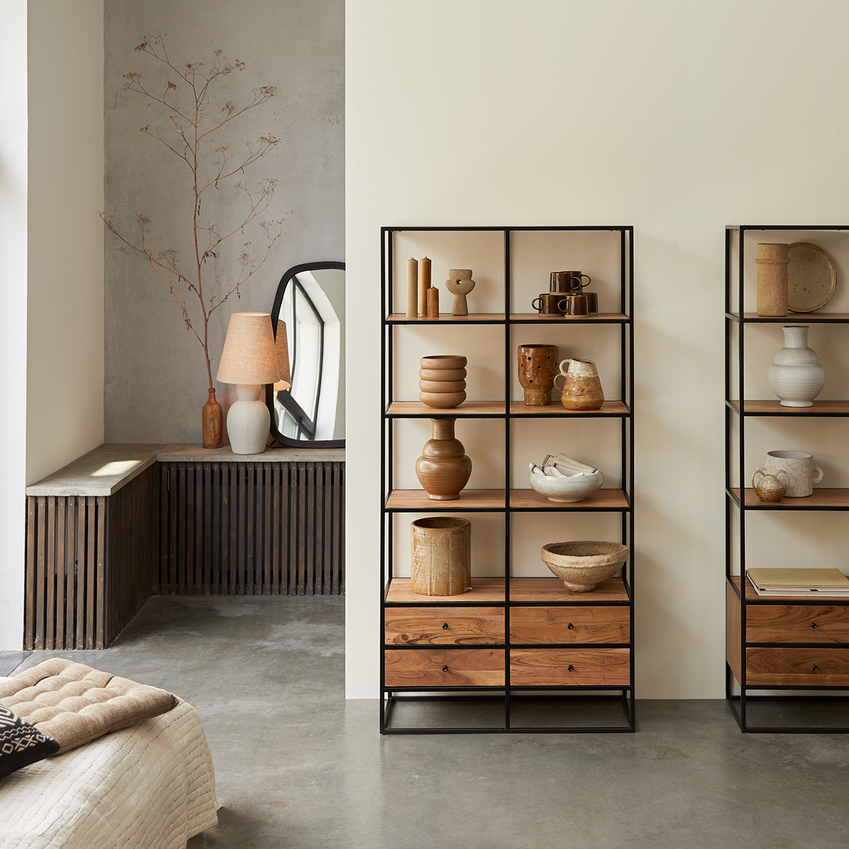Agra solid acacia and metal Bookcase
