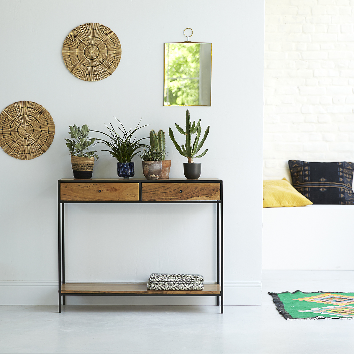 Agra solid acacia and metal Console table
