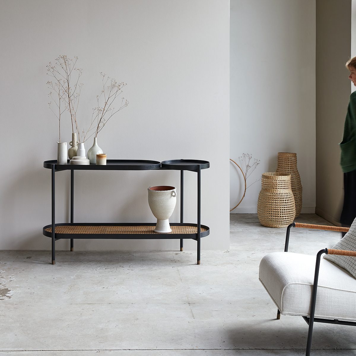 Alix mindi and canework Console table