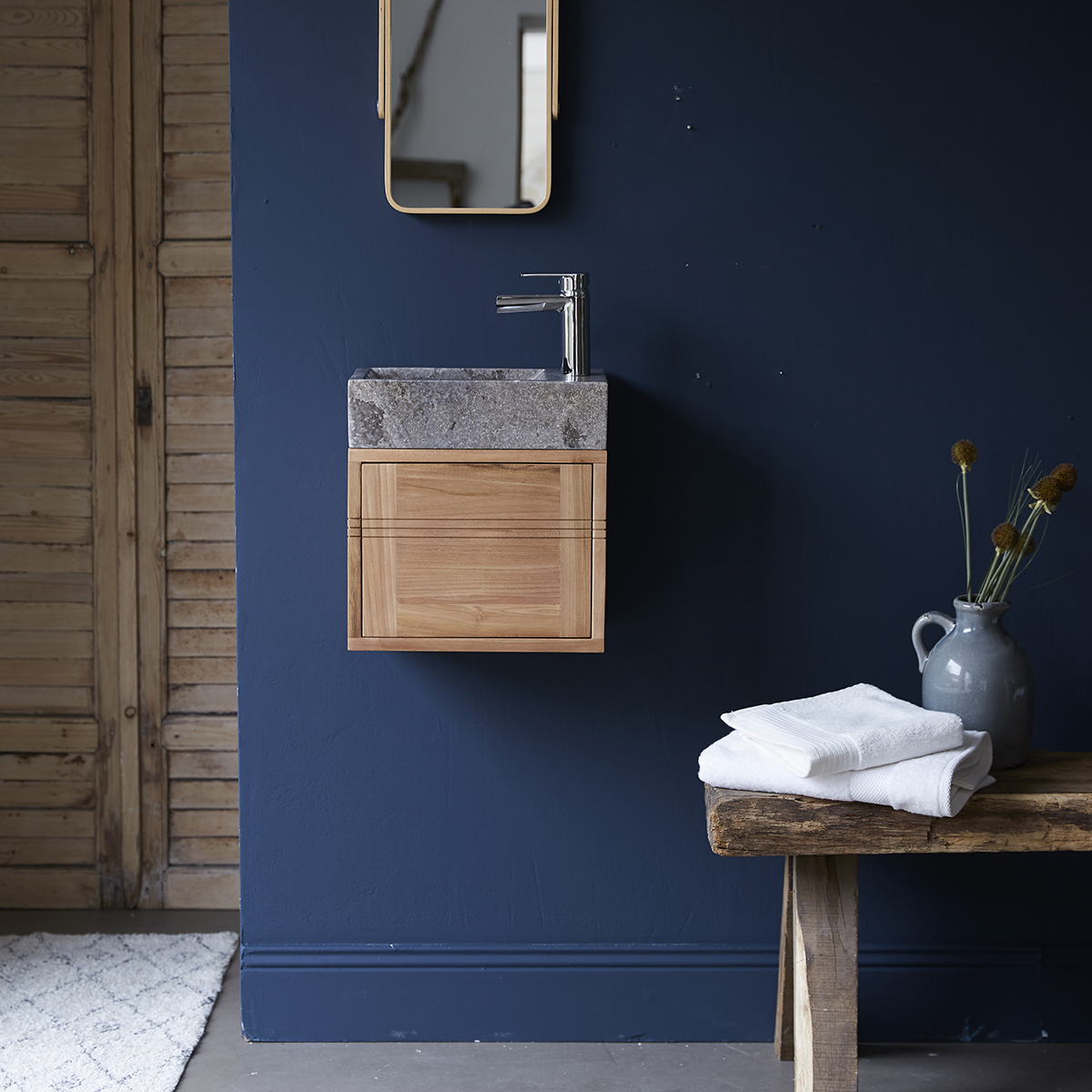 Basic solid teak and Marble Vanity Cabinet Grey