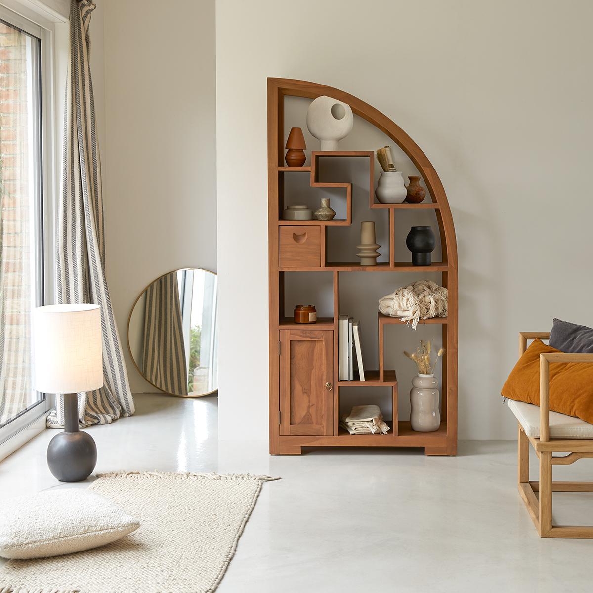 Bibliothèque en teck 180 cm - Mobilier de rangement bureau - Tikamoon