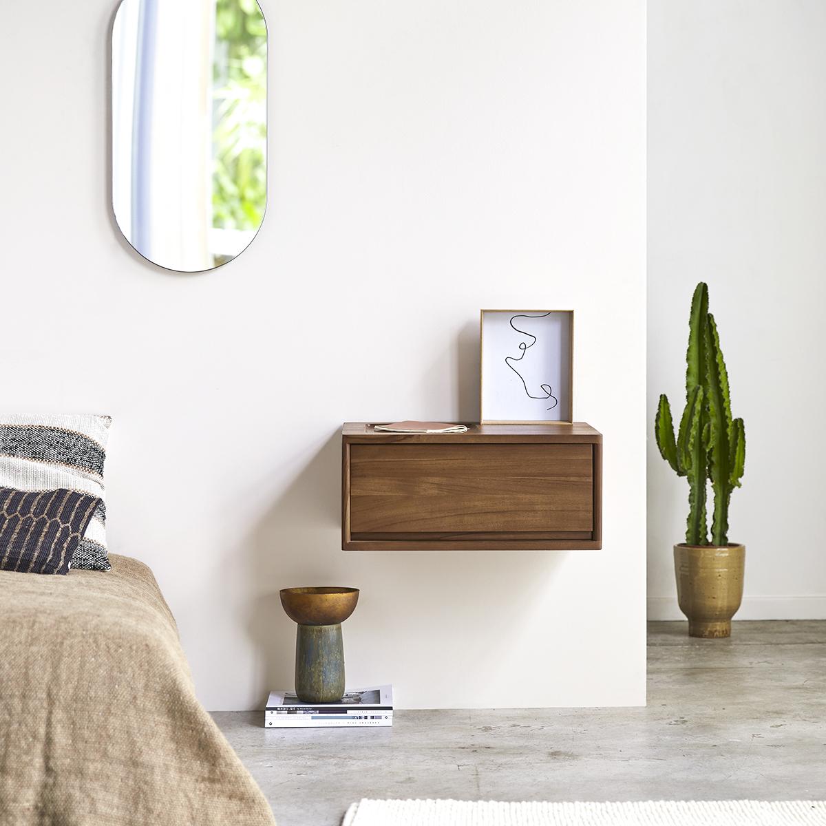 Circa 1-drawer solid teak Bedside table