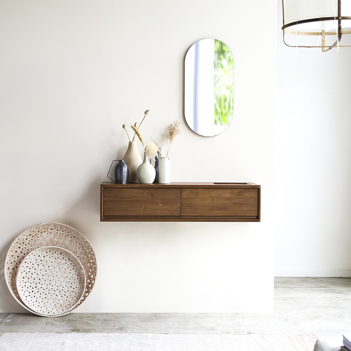 Circa solid teak 2-drawer Console table