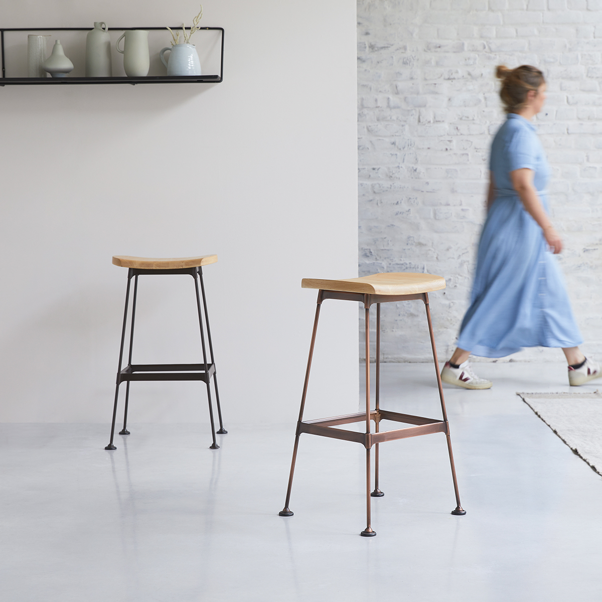 Diego copper ash and metal Bar Stool