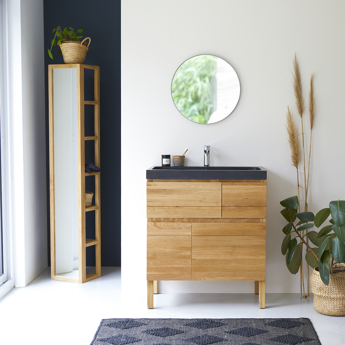 Easy solid oak and Lava Stone Vanity Cabinet 80