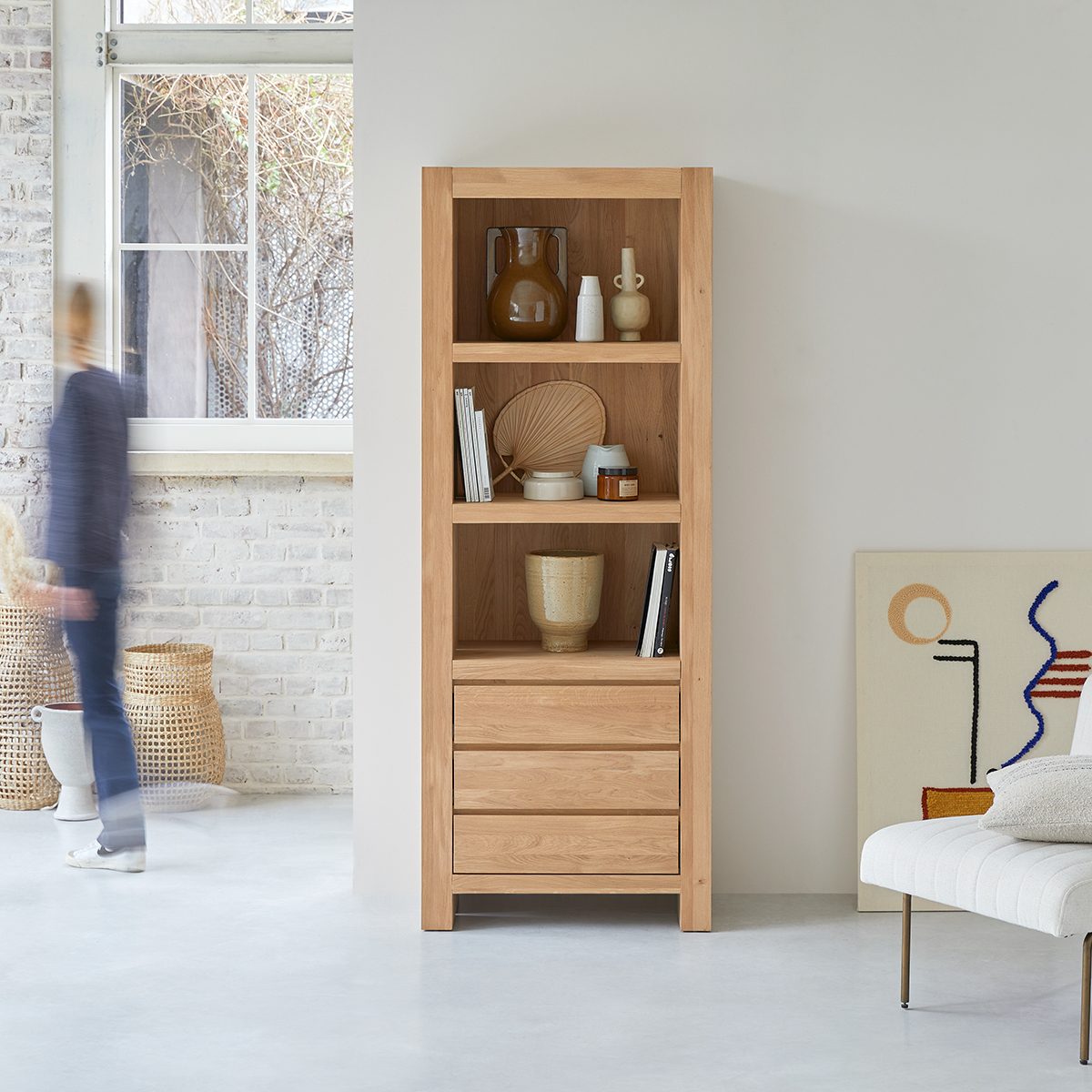 Eden solid oak bookcase 75x200