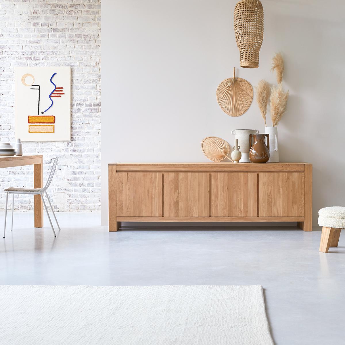 Eden solid oak Sideboard 210 cm