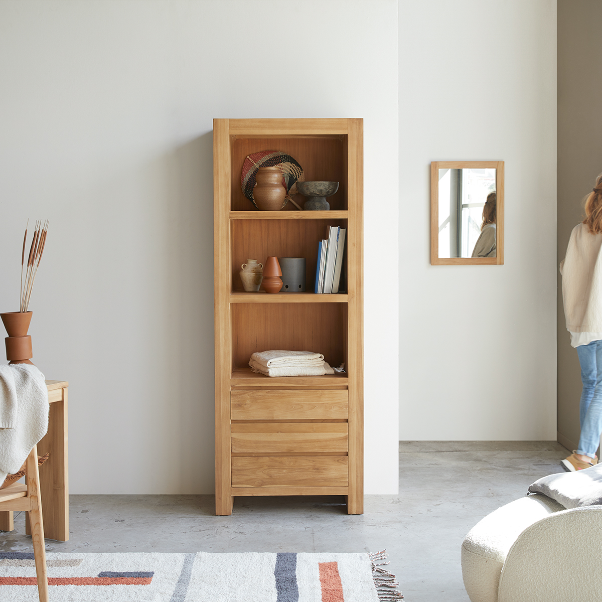 Eden solid teak Bookcase 75x200
