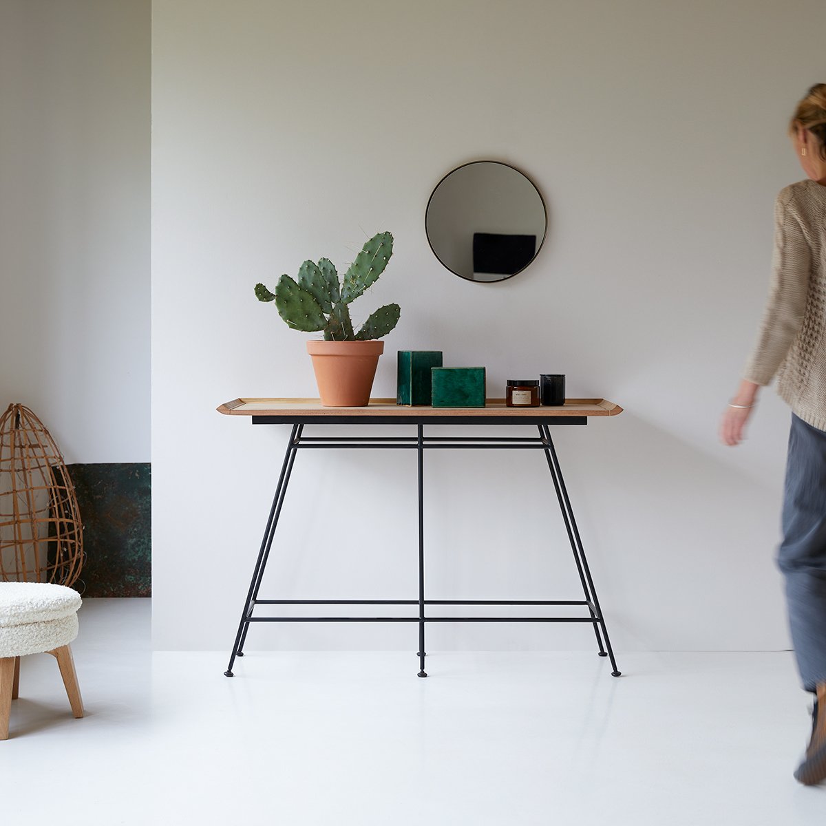 Ema solid teak and metal Console table