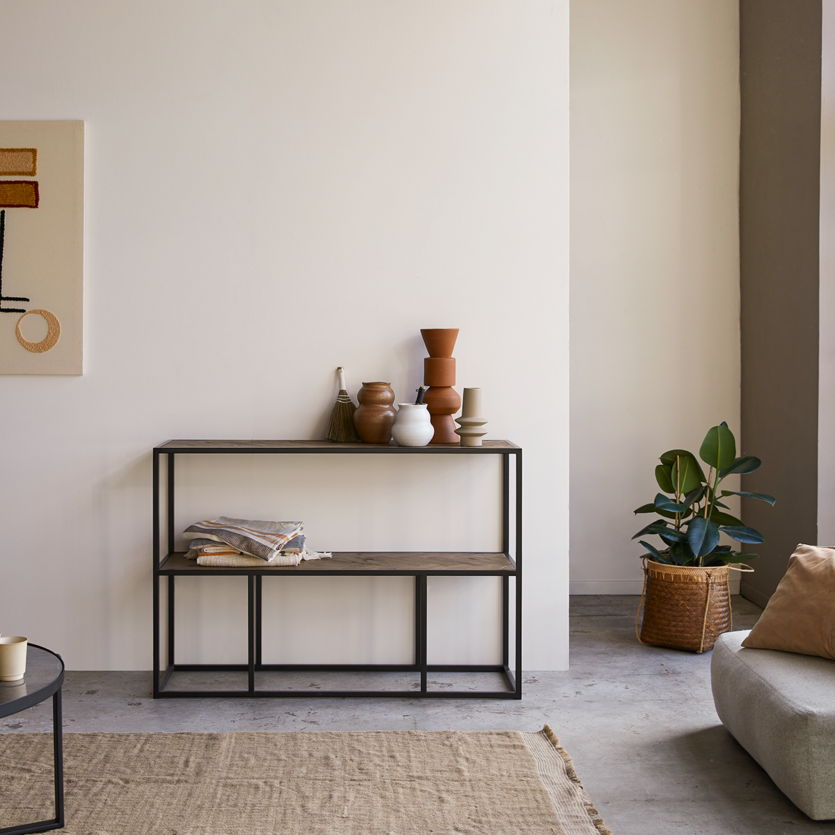 Isak solid elm and metal Console table