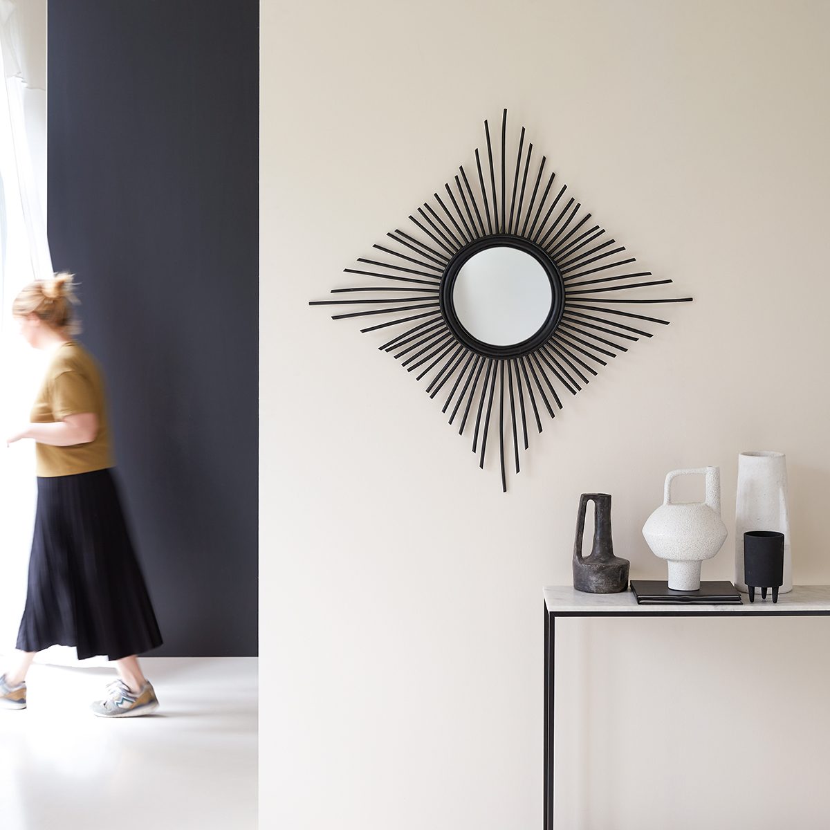 Isidore black rattan Mirror 80 cm