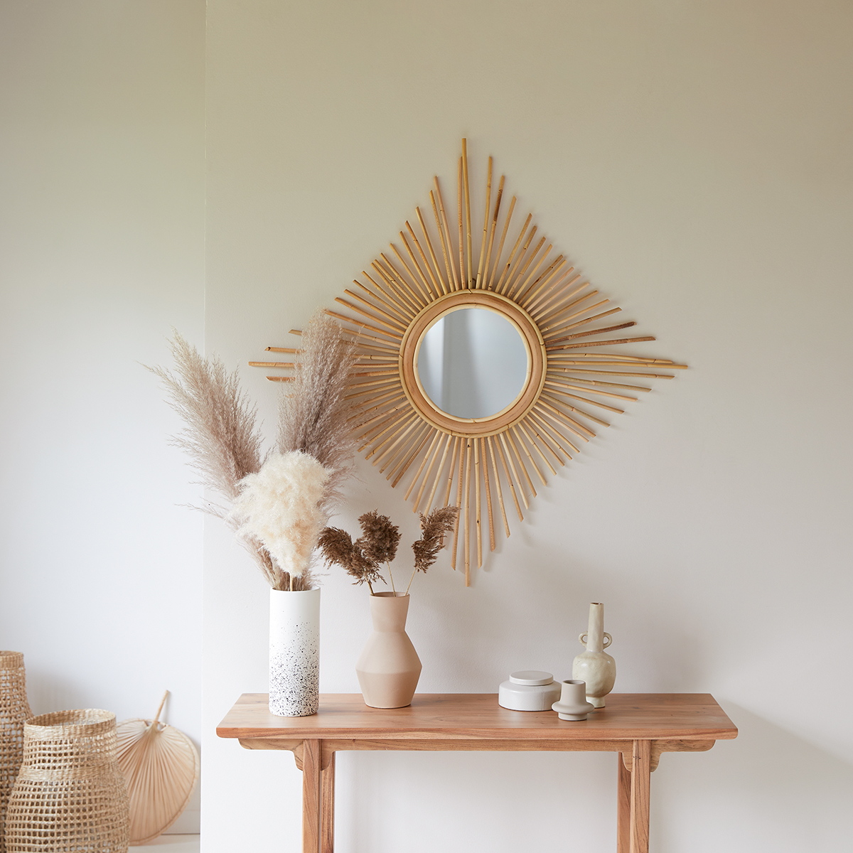 Isidore natural rattan Mirror 80 cm