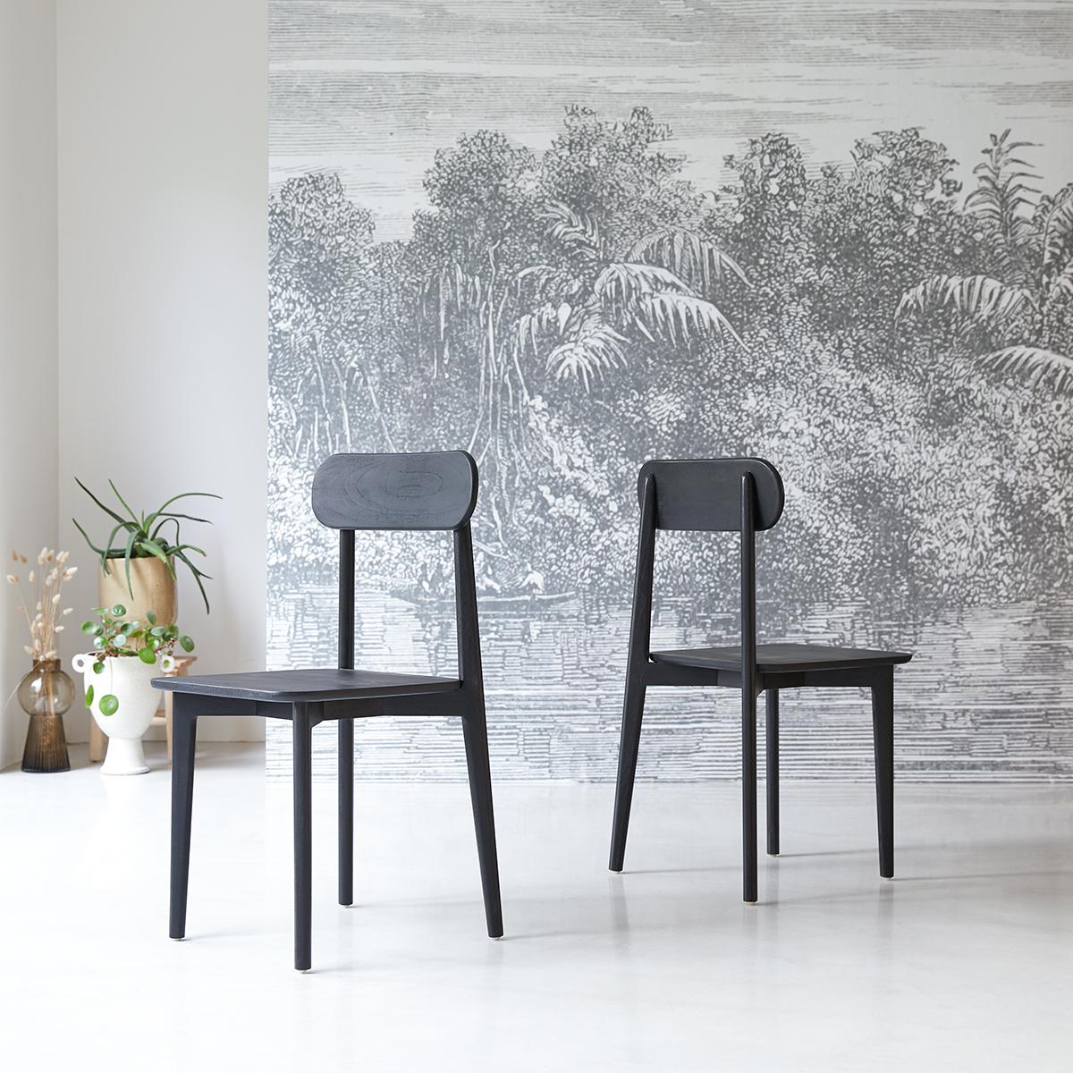 Jonàk black solid teak Chair