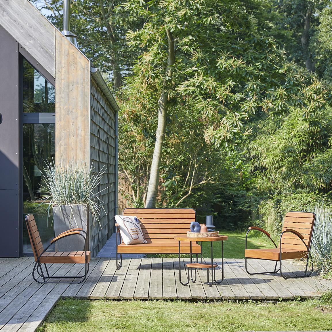 Key Wood solid teak garden Lounge, seats 4