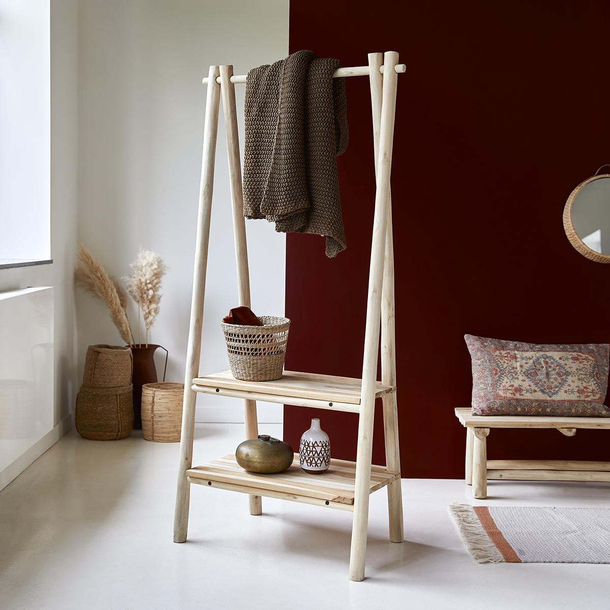 Kilim solid teak Linen rack