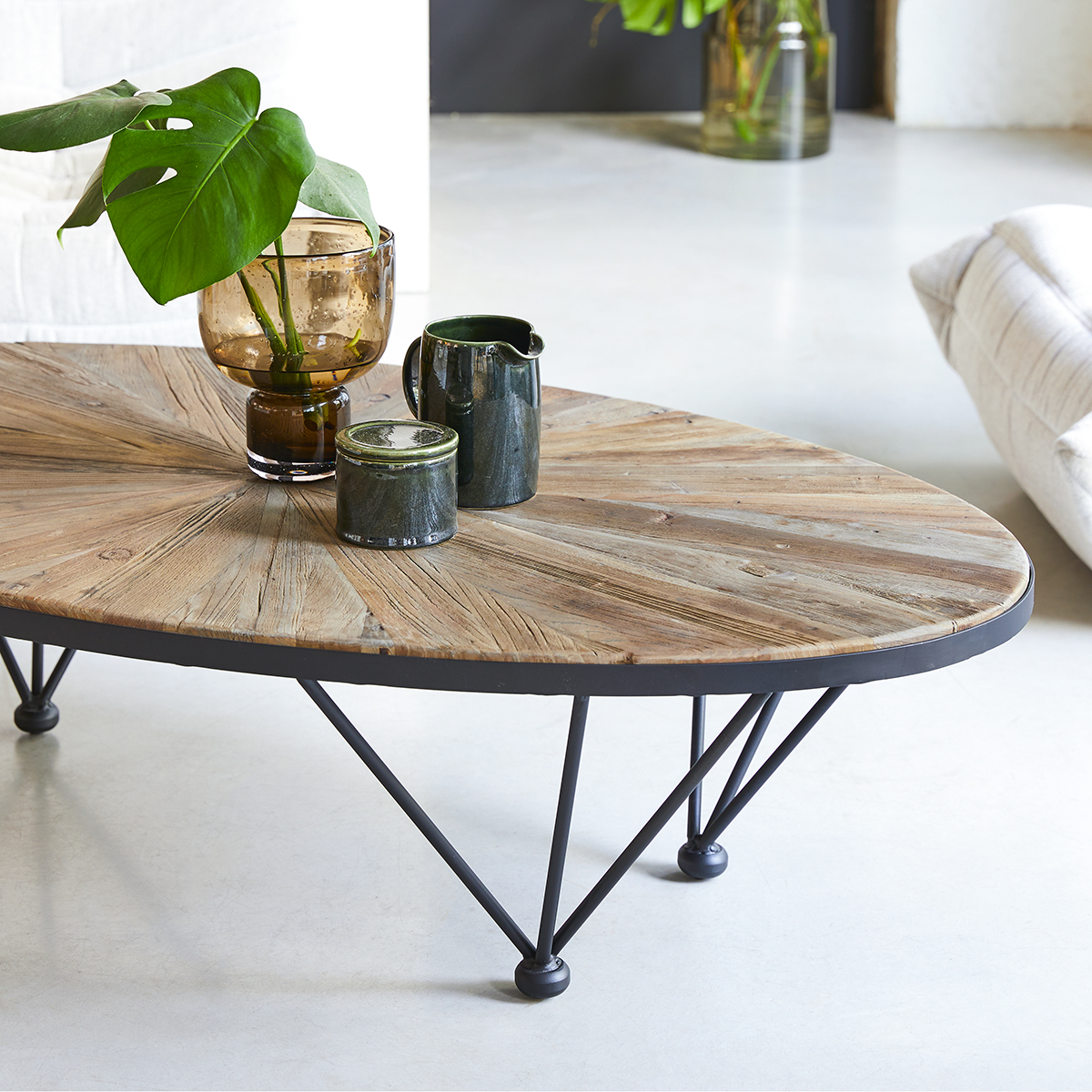 Lancelot solid elm and metal Coffee Table