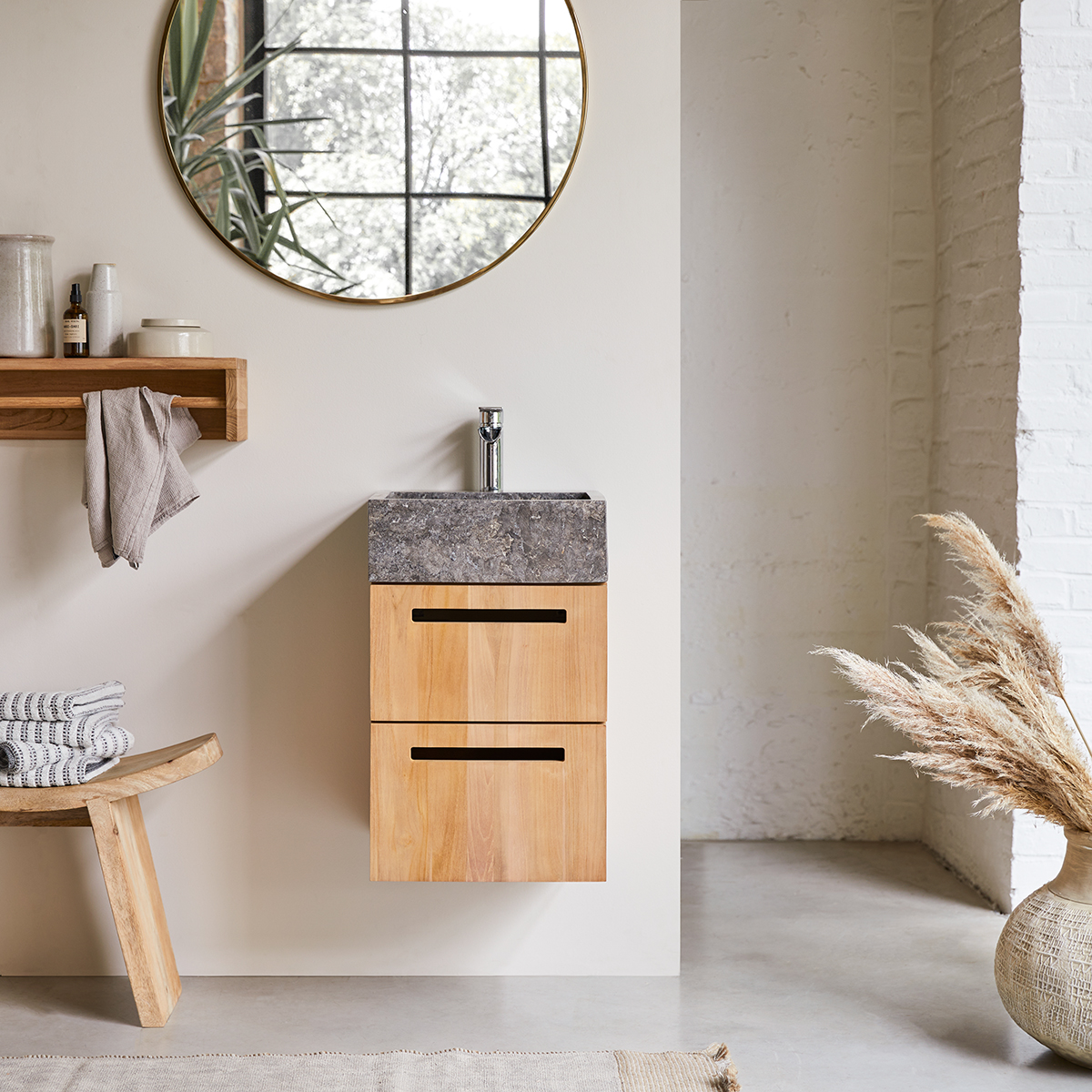 Line solid teak and Marble Wash Unit 40