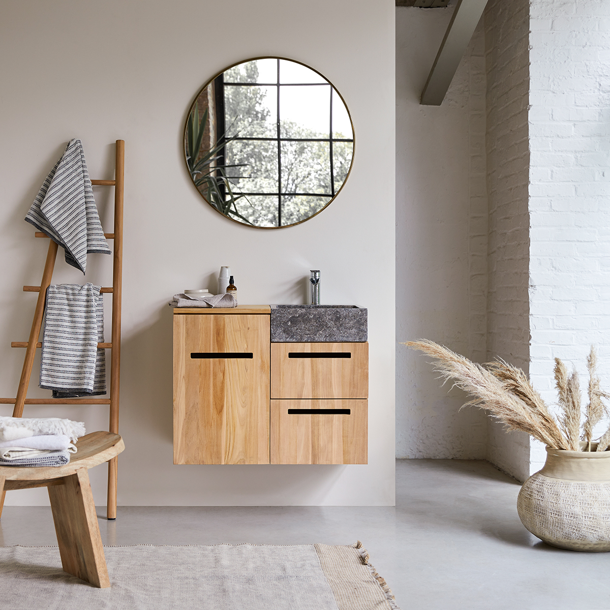 Line solid teak and Marble Wash Unit 85