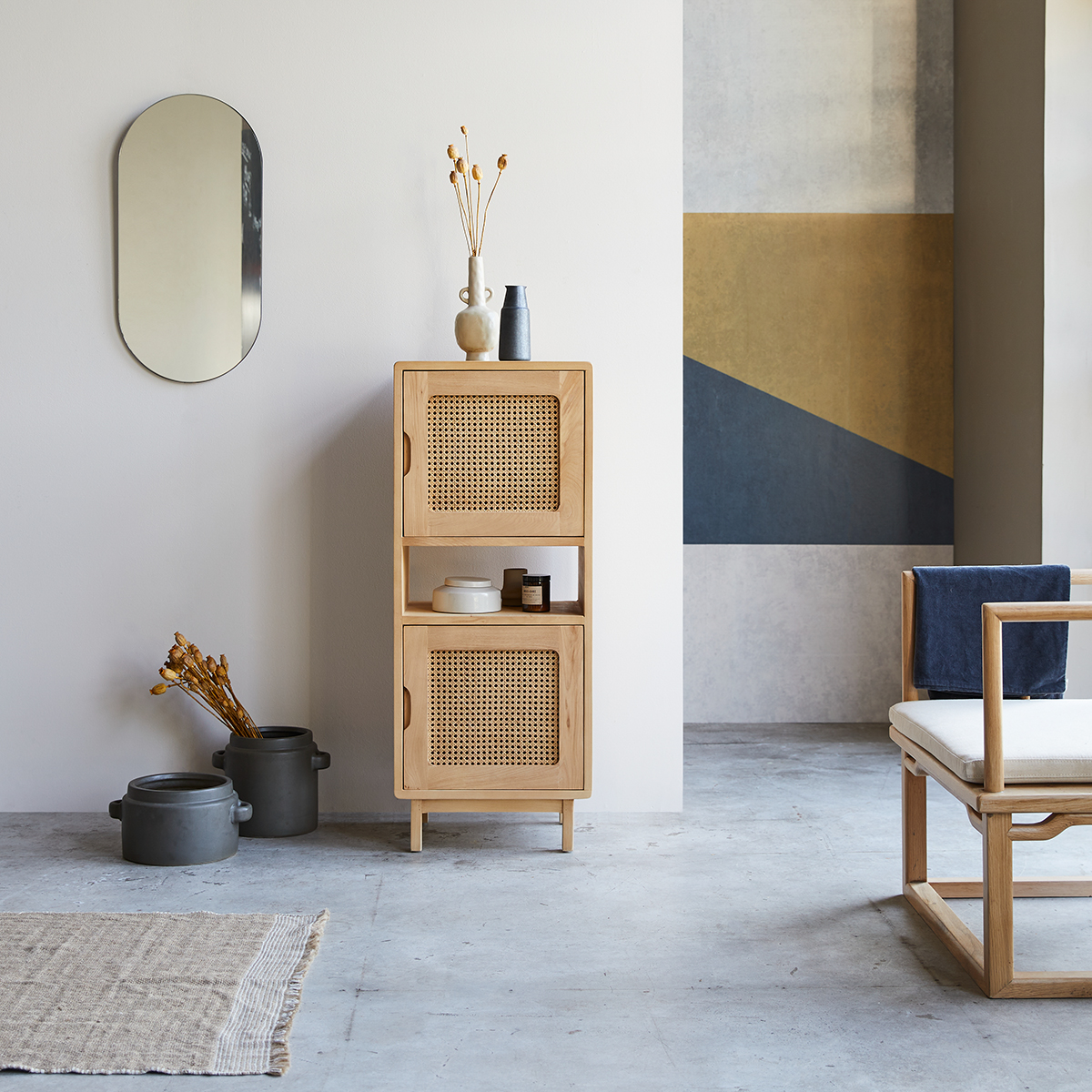 Luis low bookcase in solid elm and canework