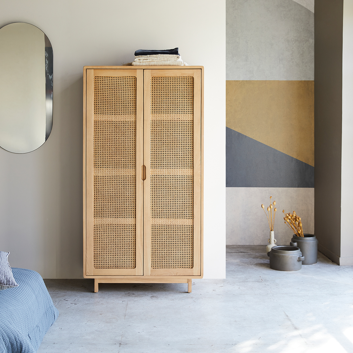Luis solid elm and canework cupboard