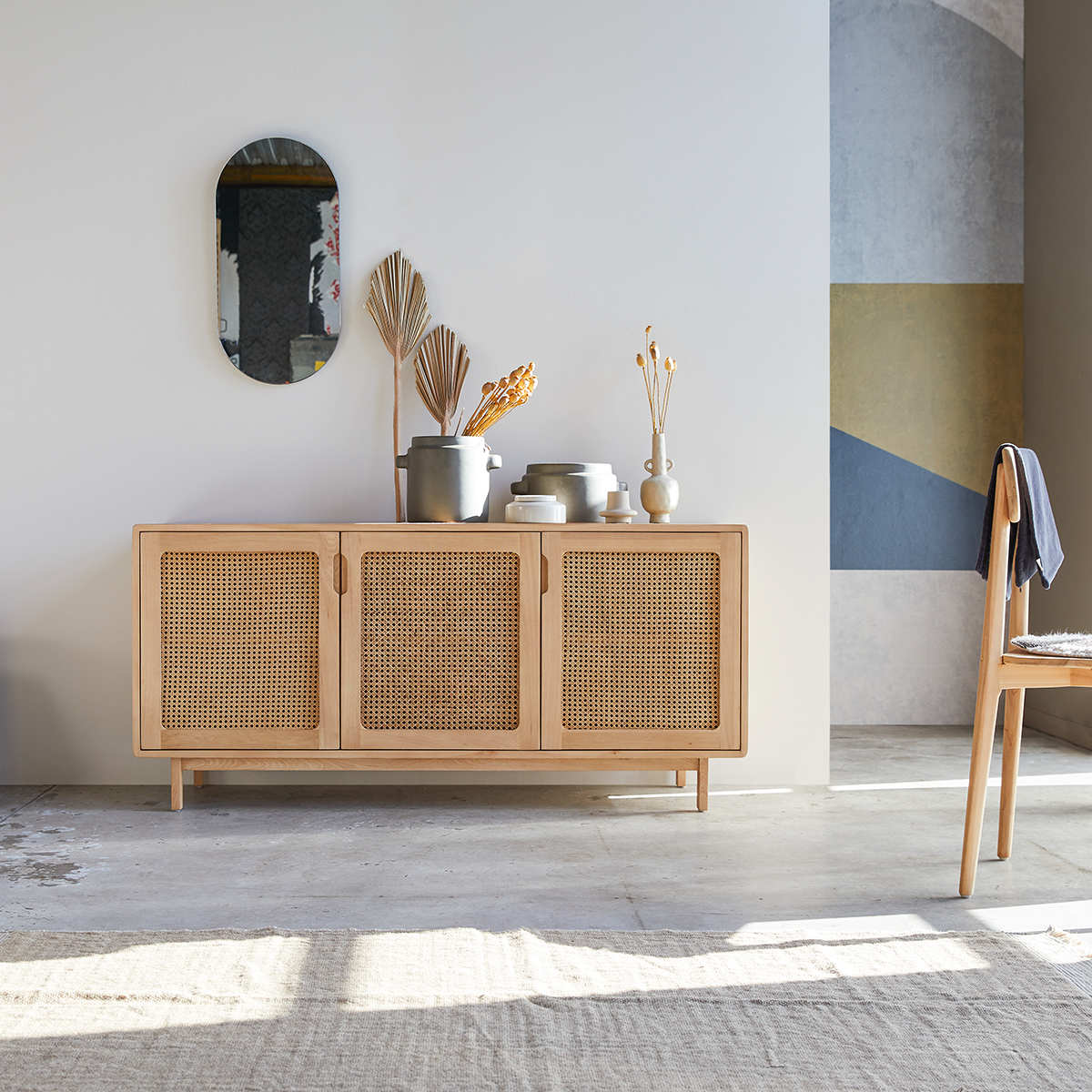 Luis solid elm and canework Sideboard 160 cm