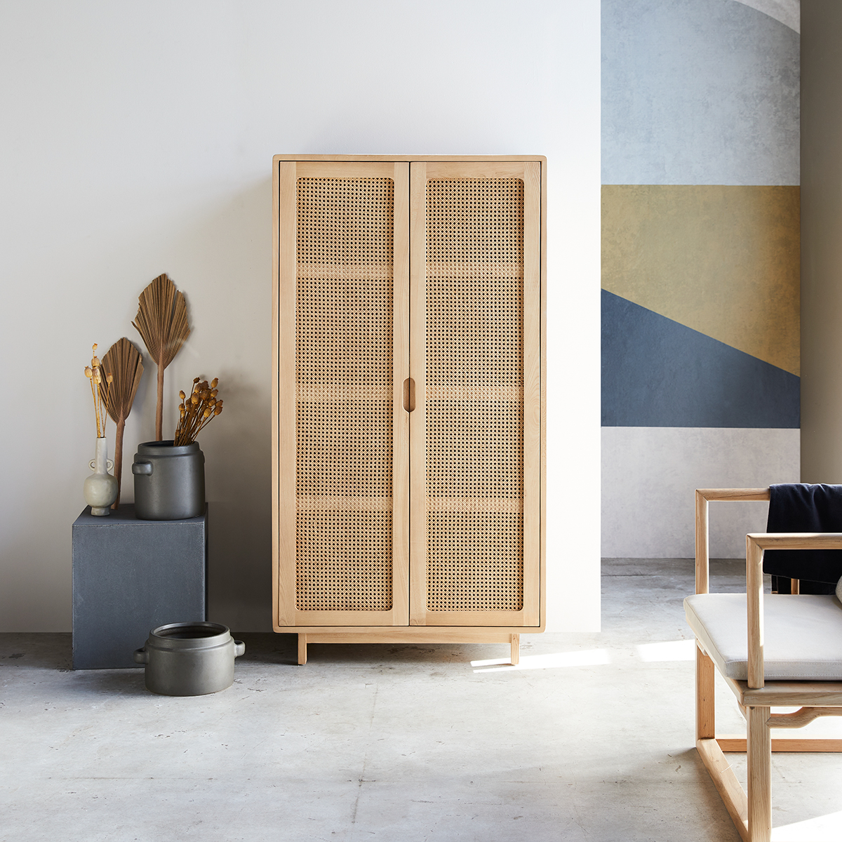 Luis solid elm and canework storage cupboard