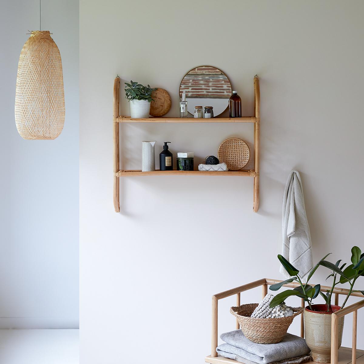 Marius rattan bathroom wall-mounted Shelf