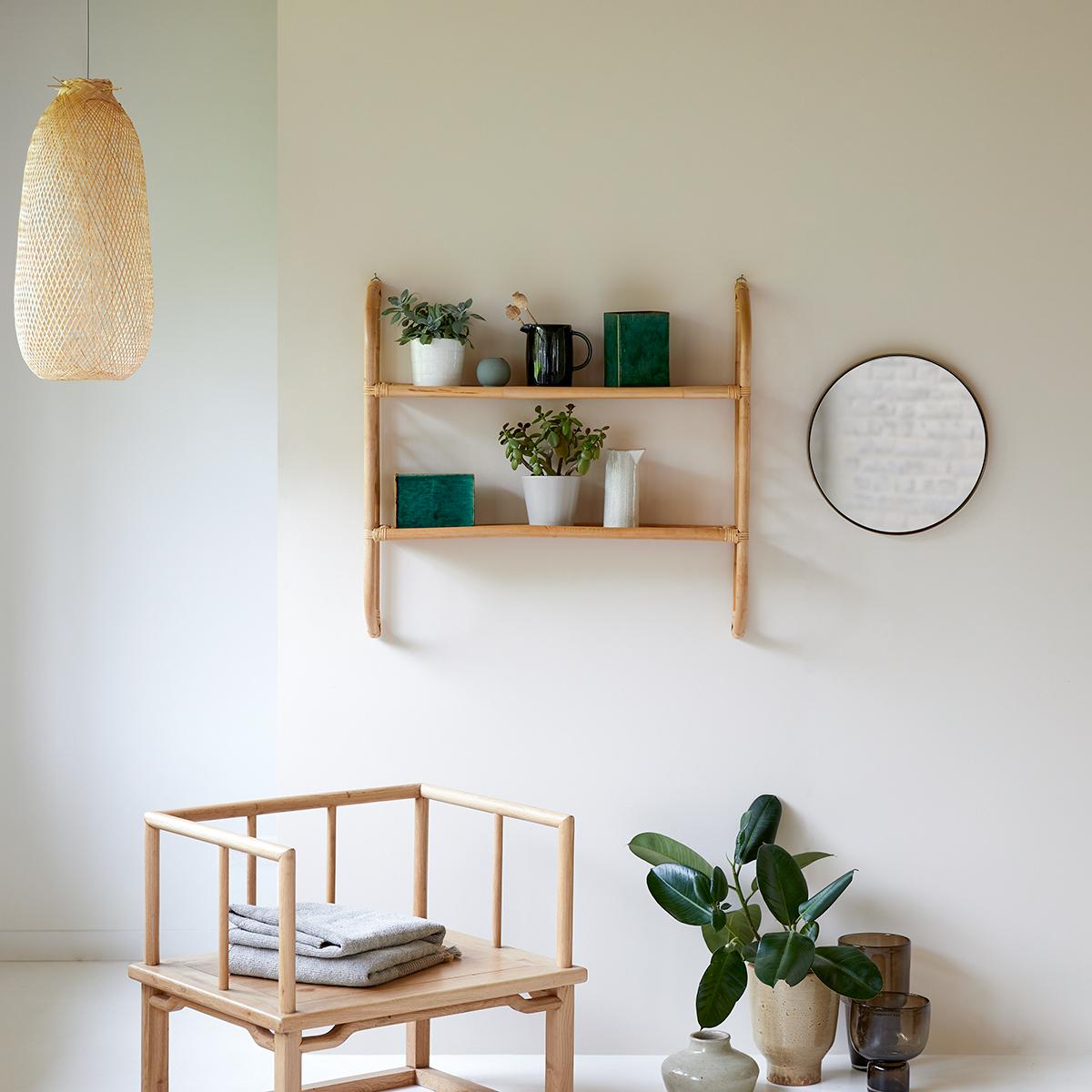 Marius rattan wall-mounted Shelf