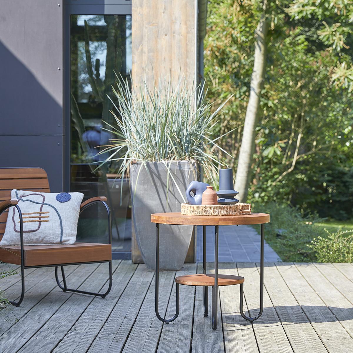 Mesa de centro de jardín en teca maciza Key Wood