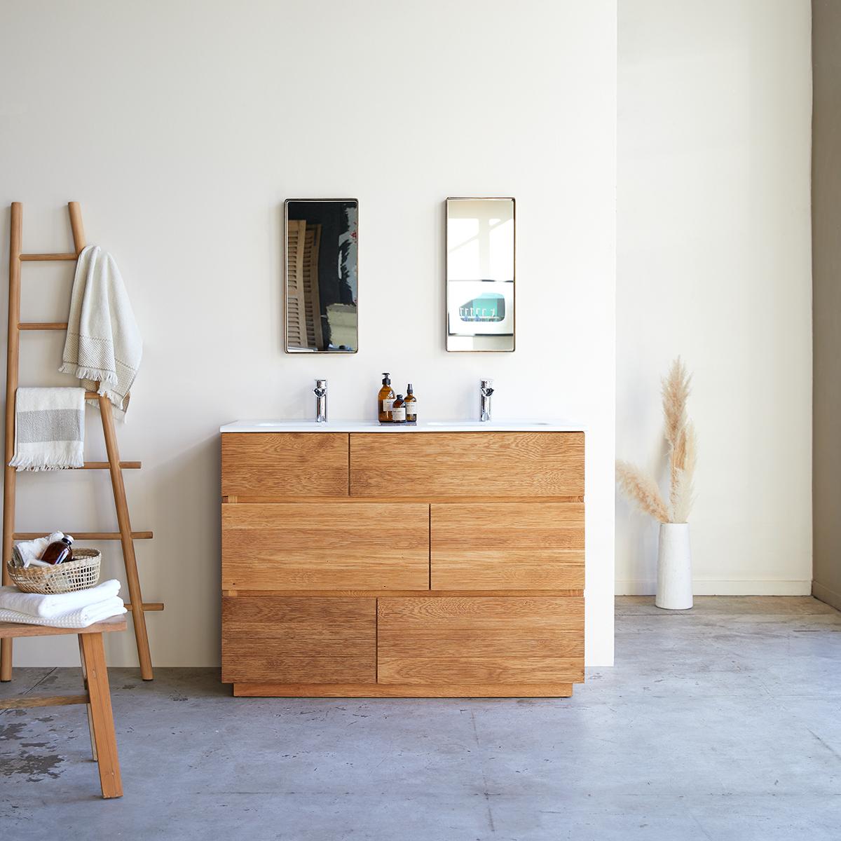 Meuble Salle de bain en chêne massif et céramique 120 Karl