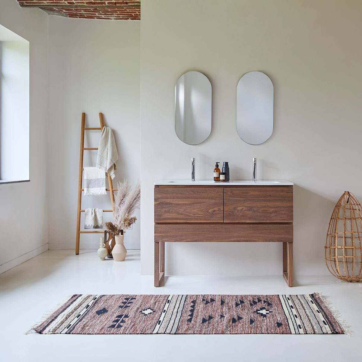 Meuble Salle de bain en noyer massif et céramique 120 Edgar