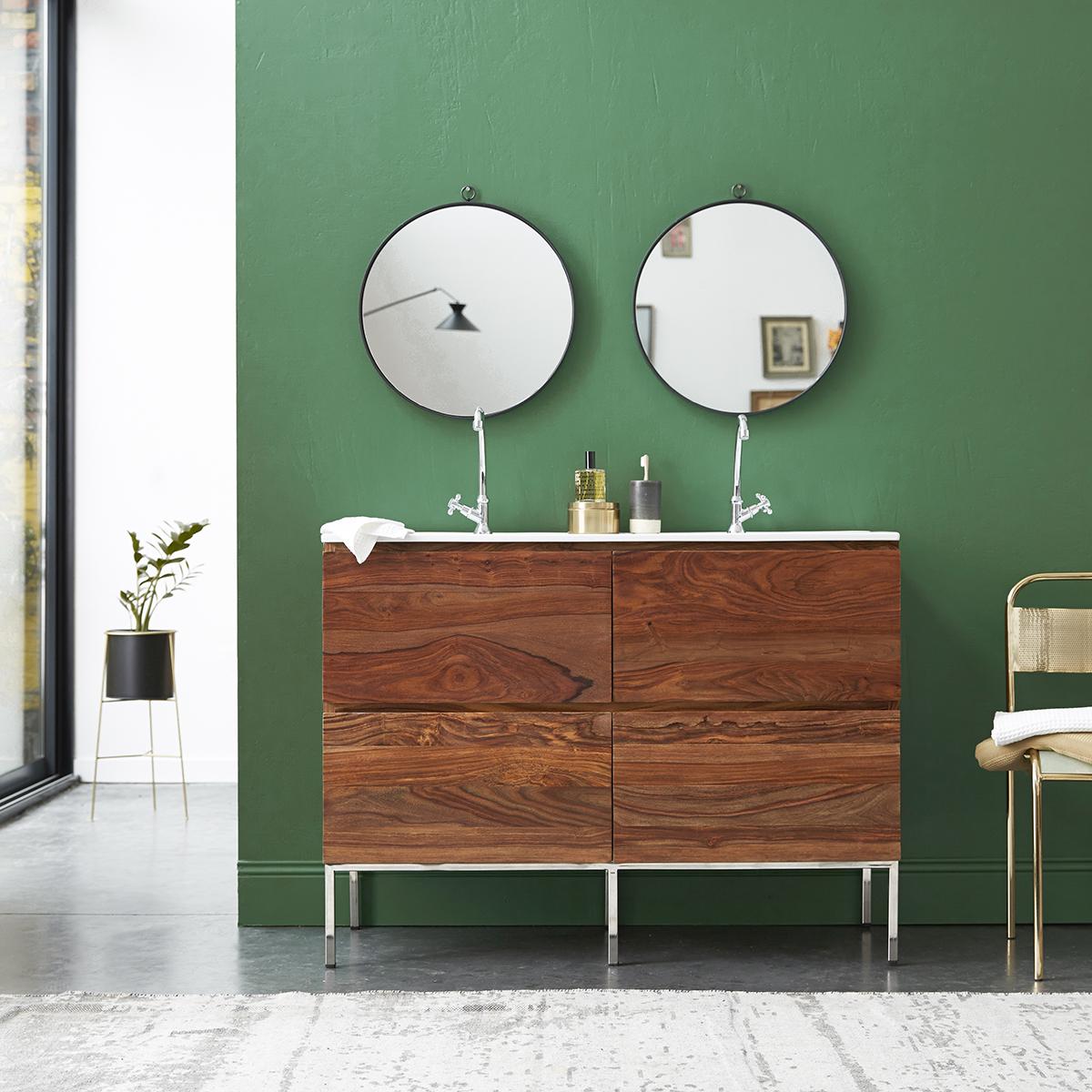 Meuble Salle de bain en palissandre massif et céramique 120 Nova