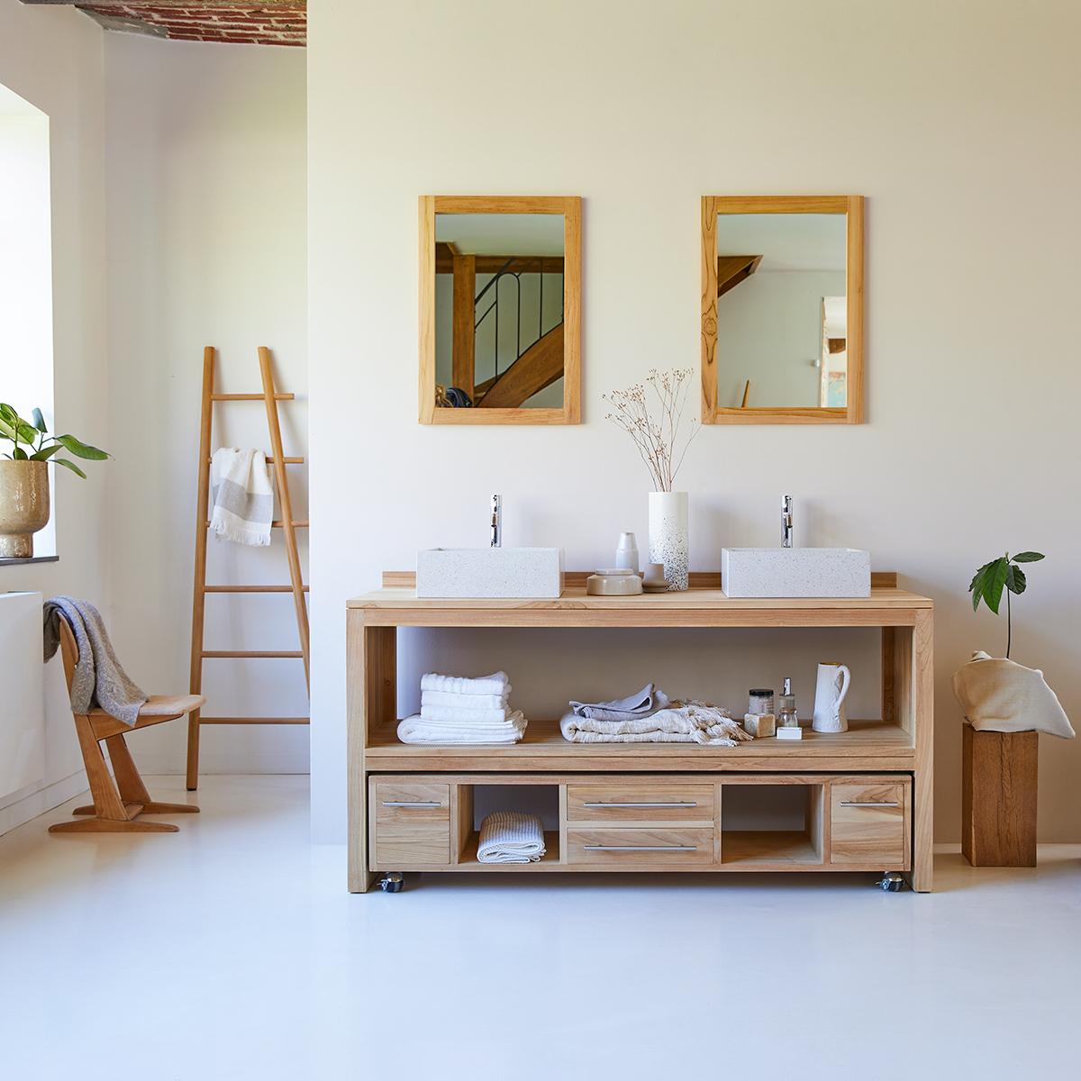 Meuble Salle de bain en teck massif brut 160 Layang