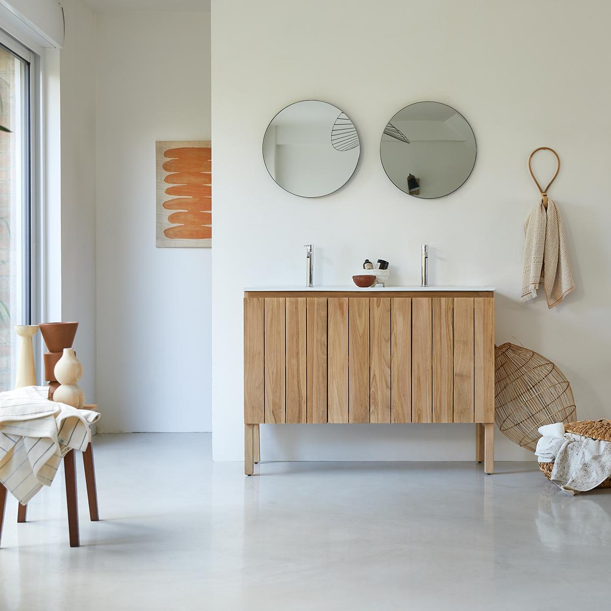 Meuble Salle de bain en teck massif et céramique 120 Jill