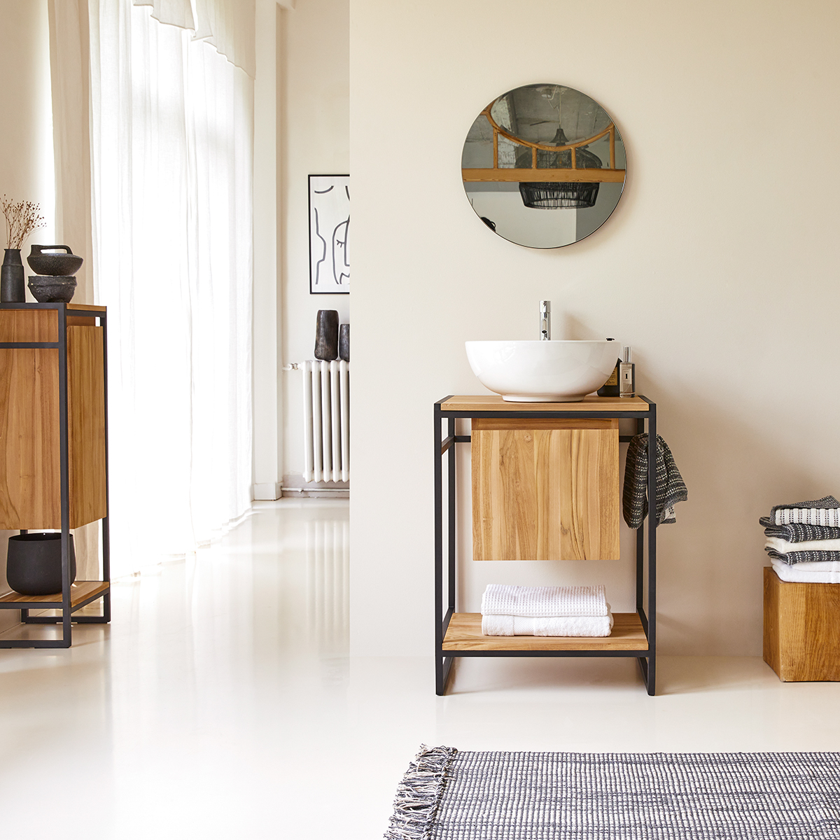 Michal metal and solid teak Washstand 60