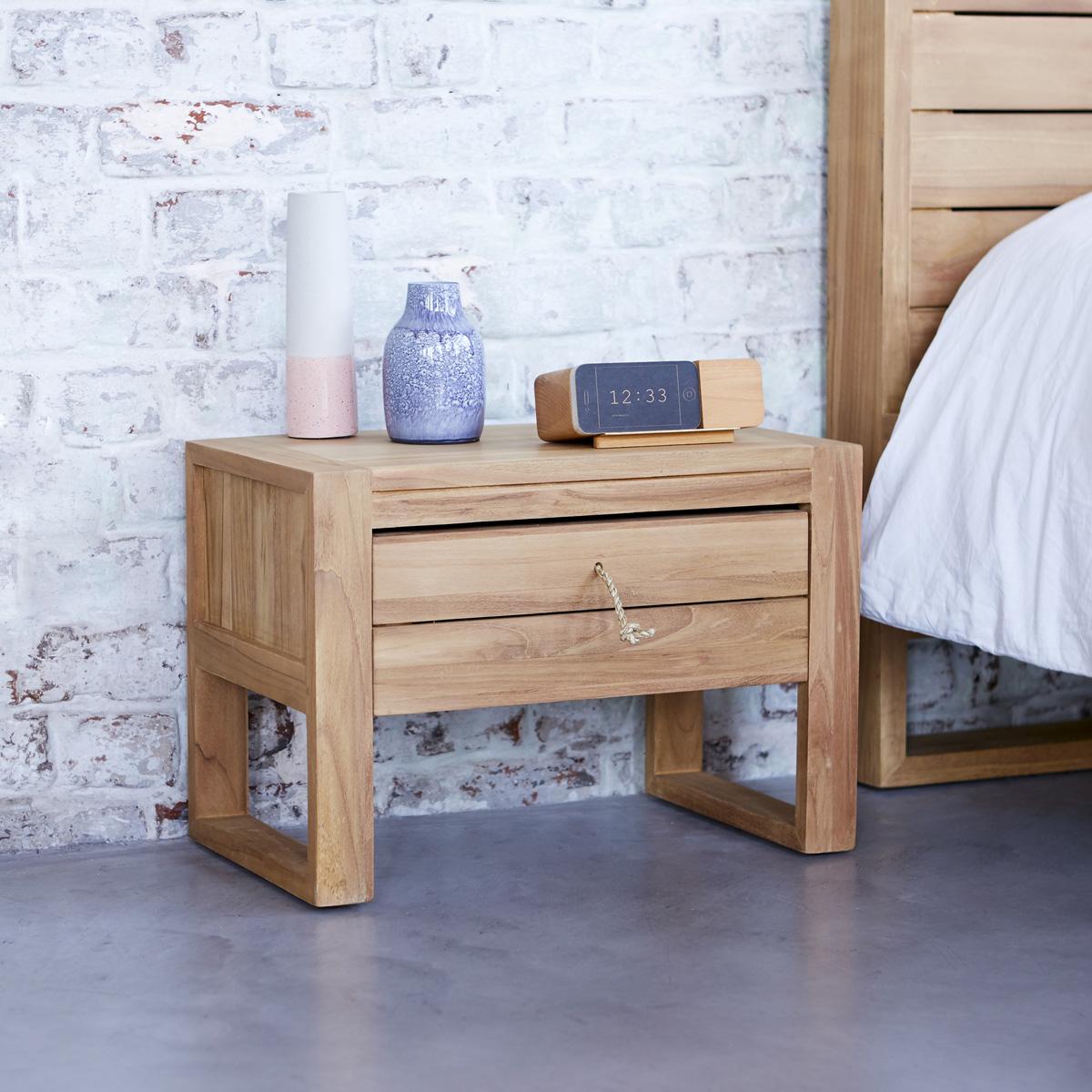 Minimalys solid teak Bedside table