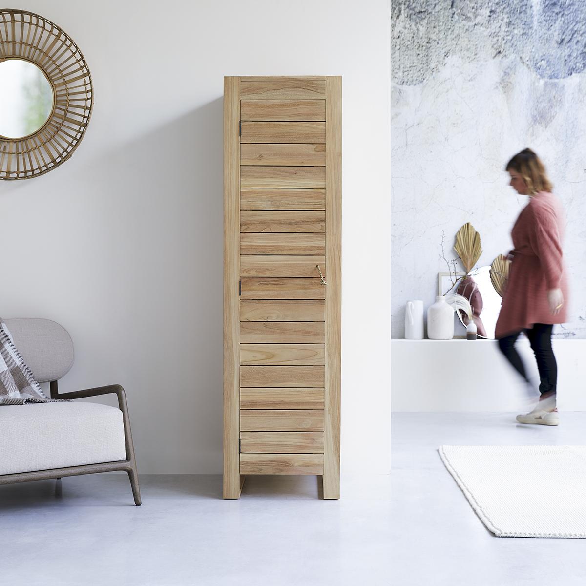 Minimalys solid teak single storage Wardrobe