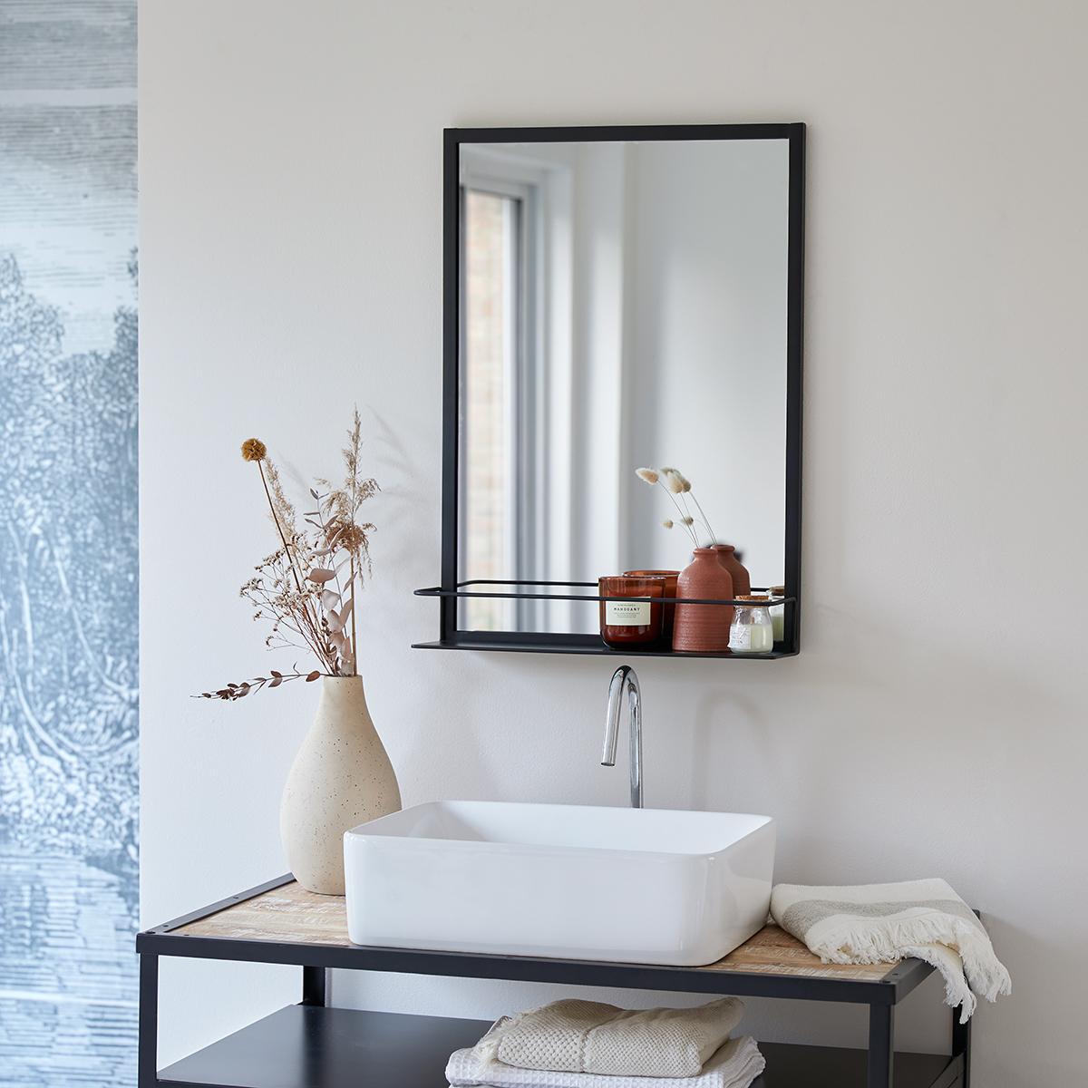 Miroir en métal noir Lison 70x50 cm