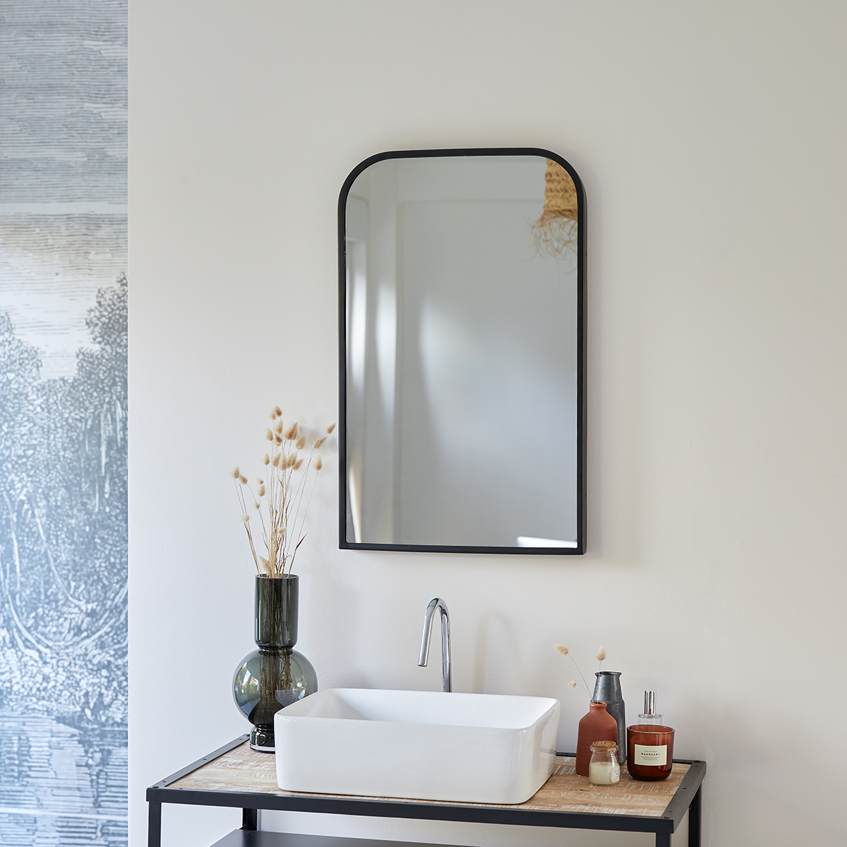 Miroir en métal noir Nordic 80x50 cm
