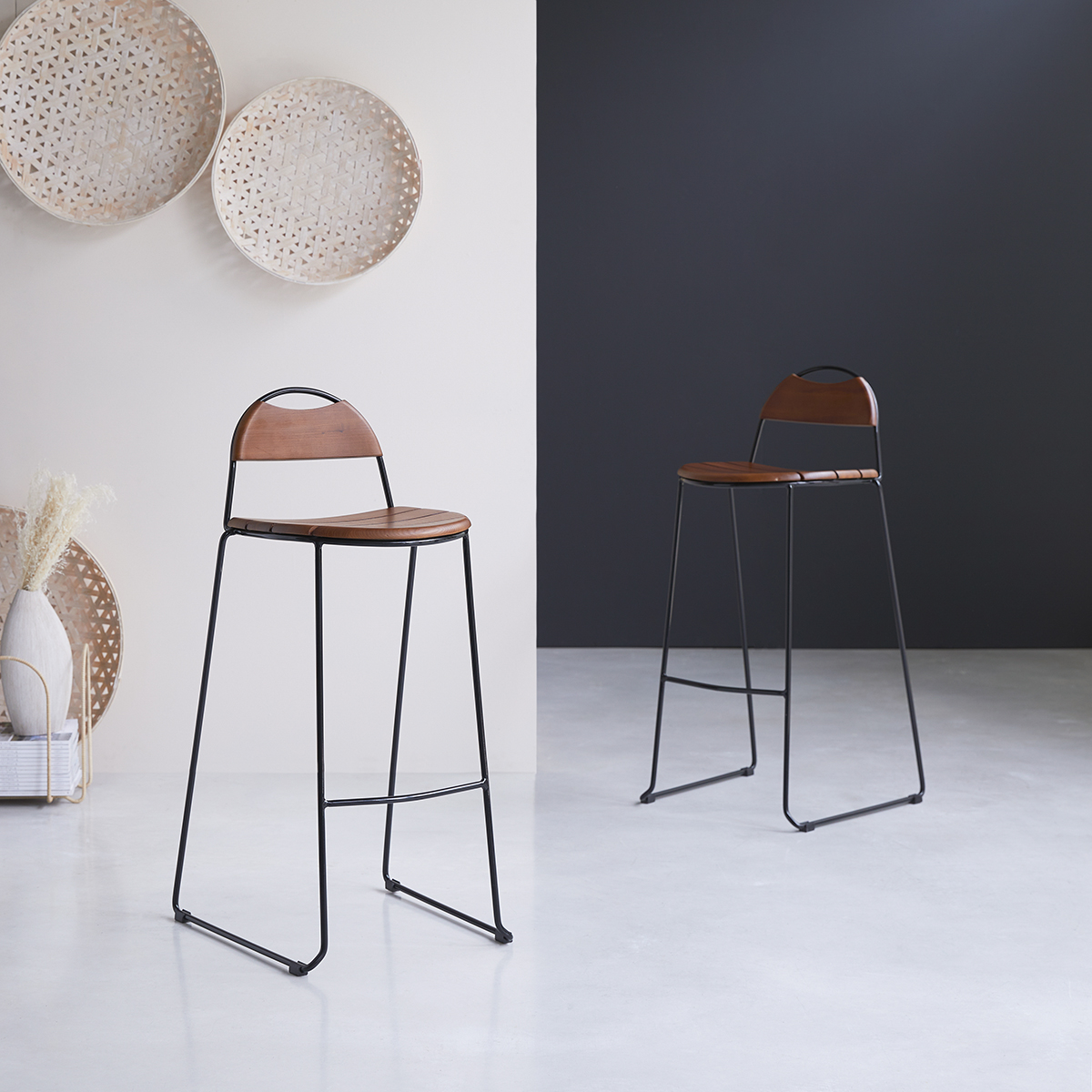 Molly solid ash and metal Bar Chair