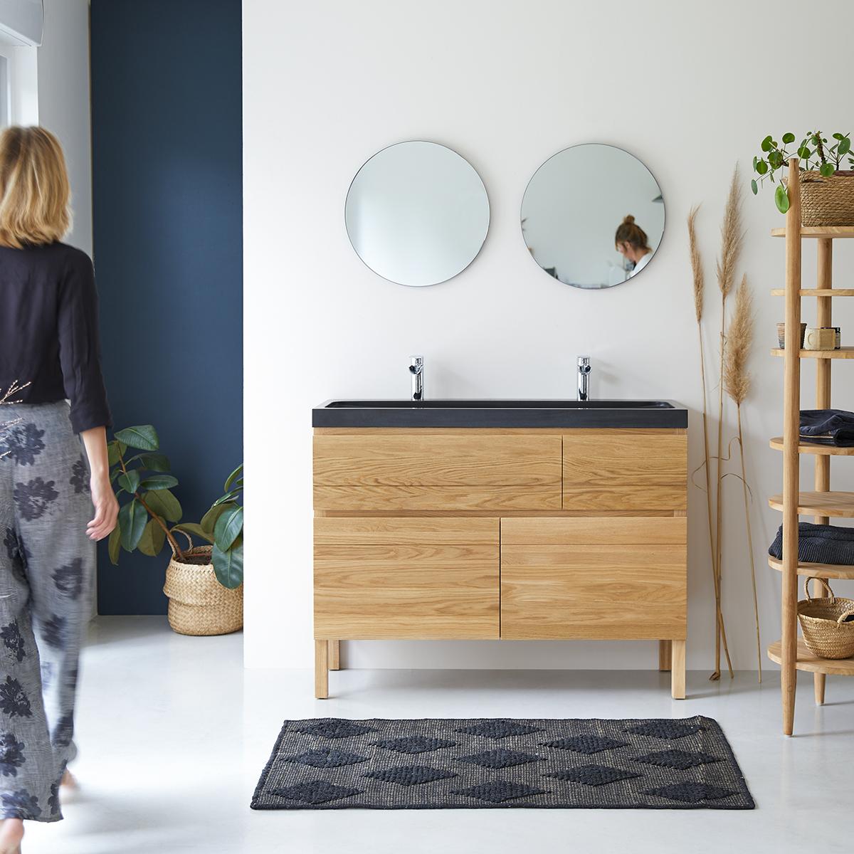 Mueble con lavabos de roble macizo y piedra de lava 120 Easy