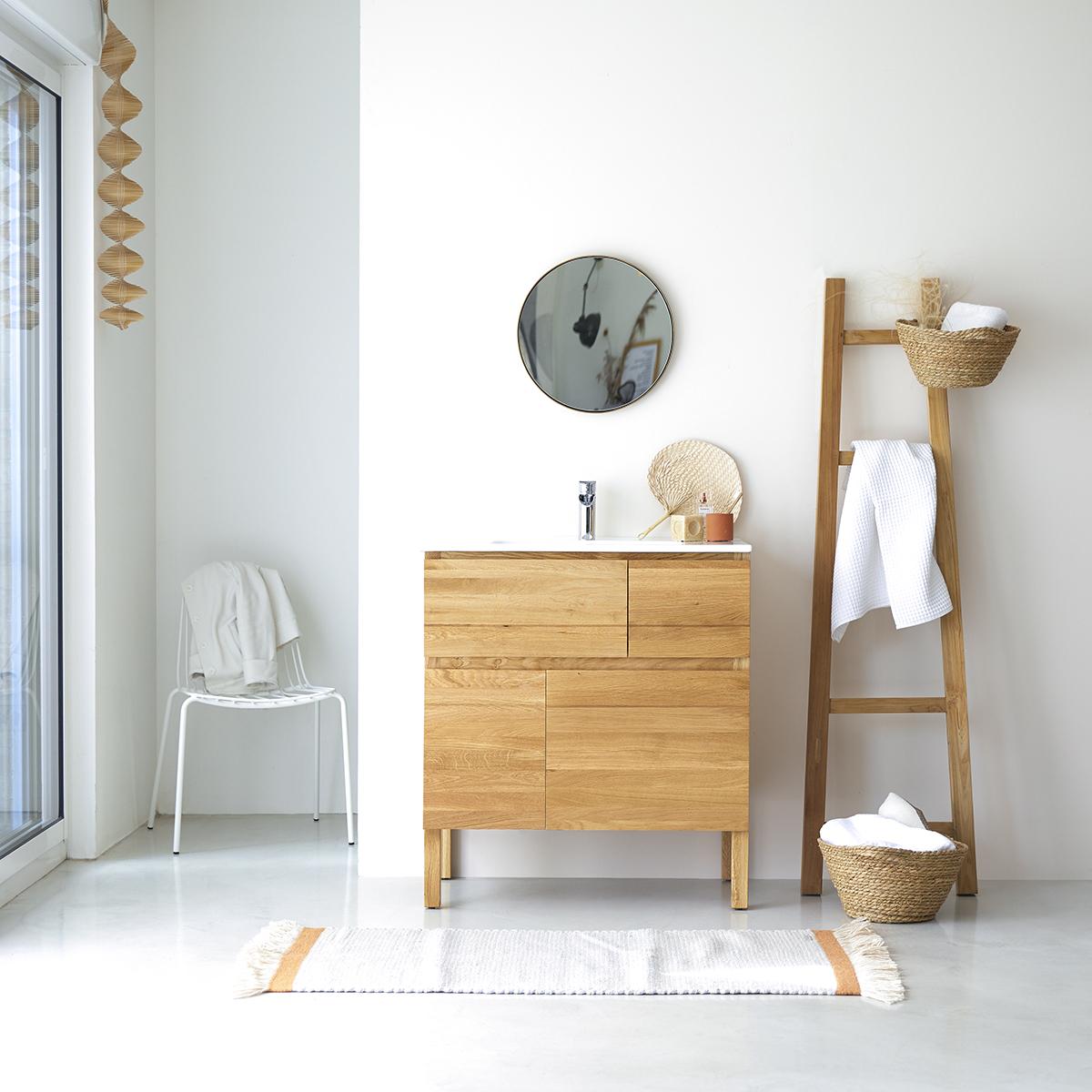 Mueble en Madera de roble macizo con Lavabo de cerámica 80 Easy