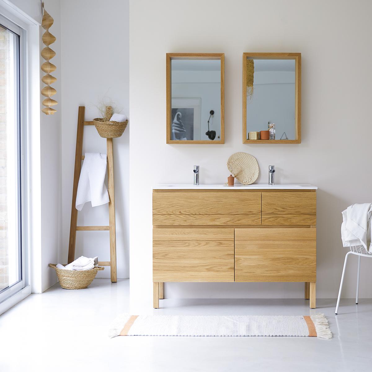 Mueble en Madera de roble macizo con lavabos de cerámica 120 Easy