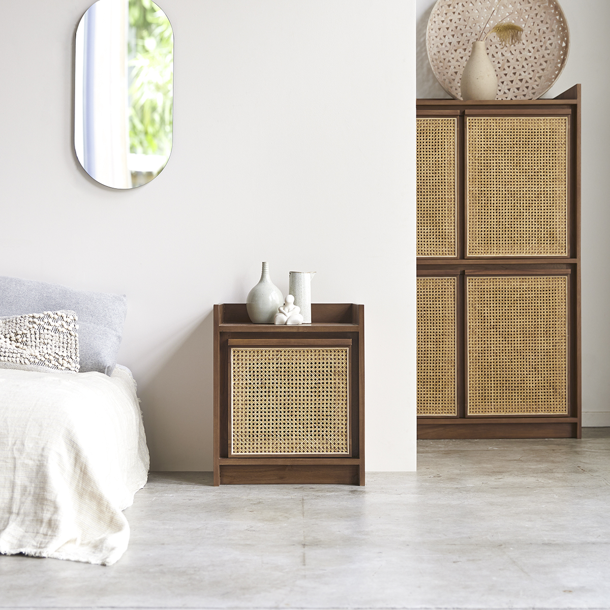 Roots solid teak and canework Bedside table