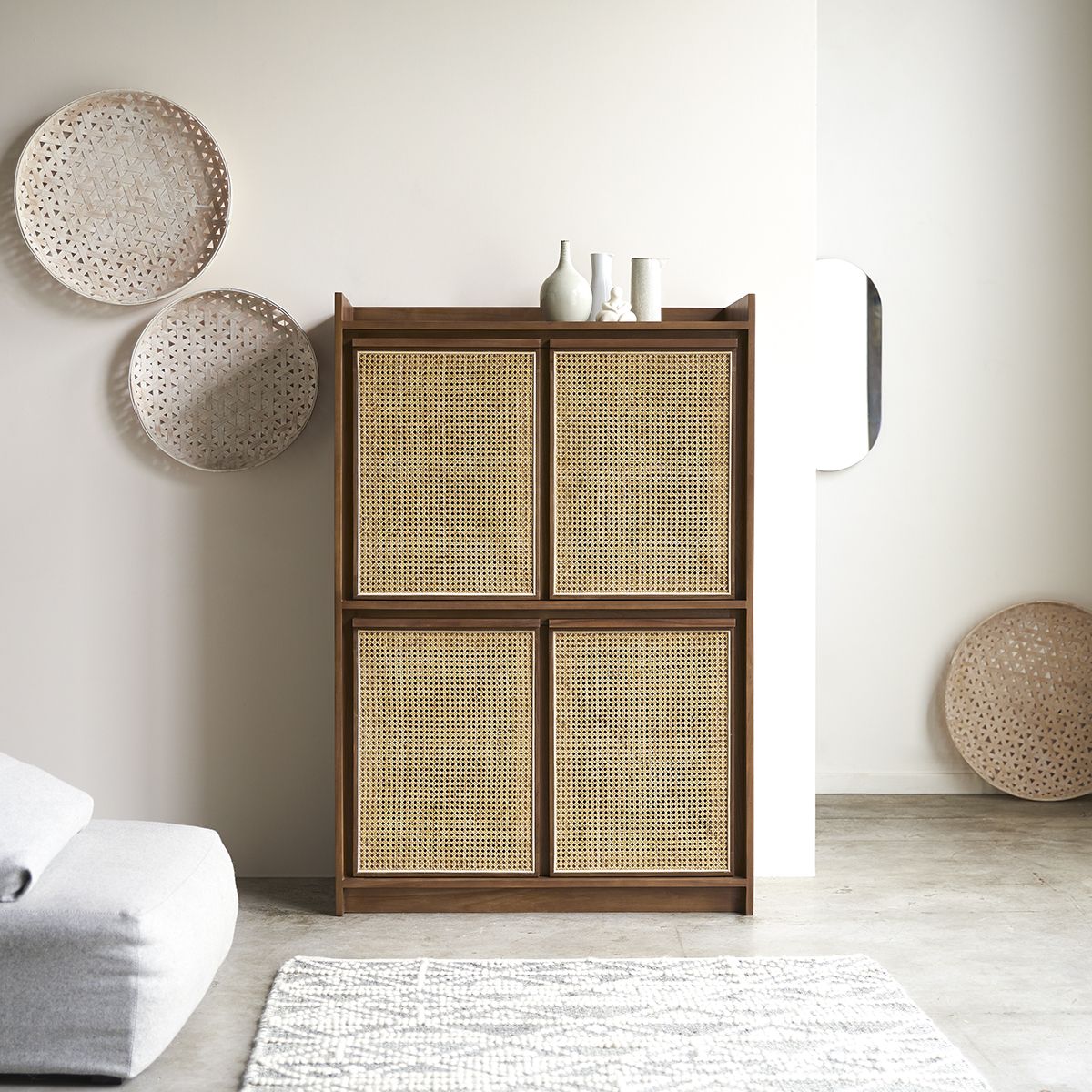 Roots solid teak and canework Dresser 105 cm