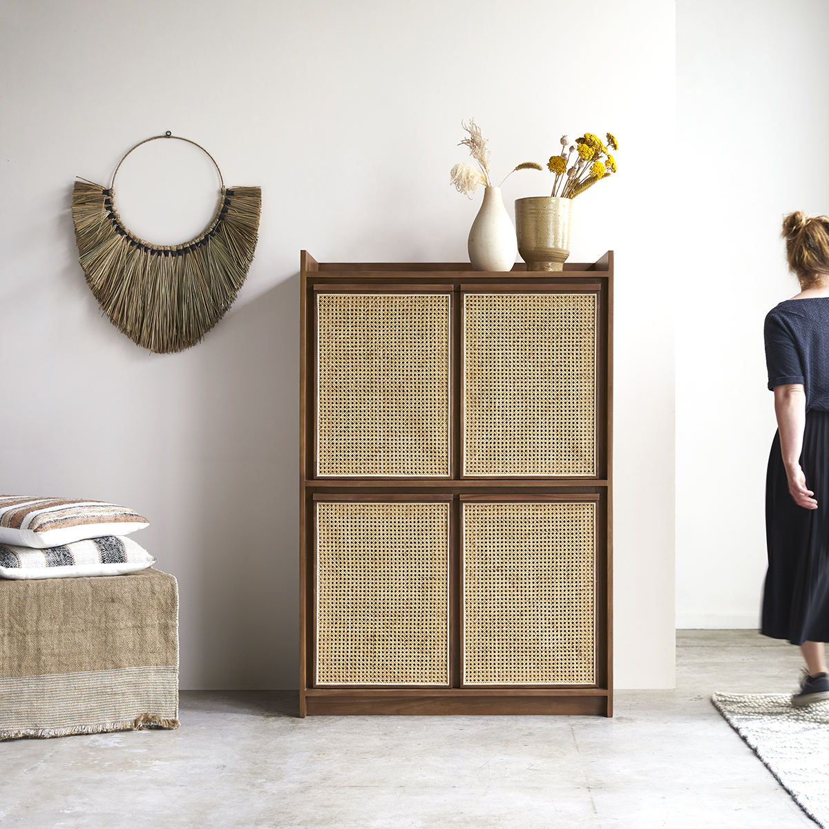 Roots solid teak and canework Wardrobe