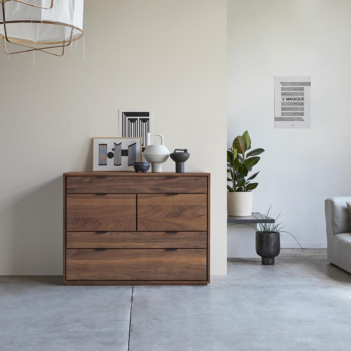 Senson solid walnut chest of drawers