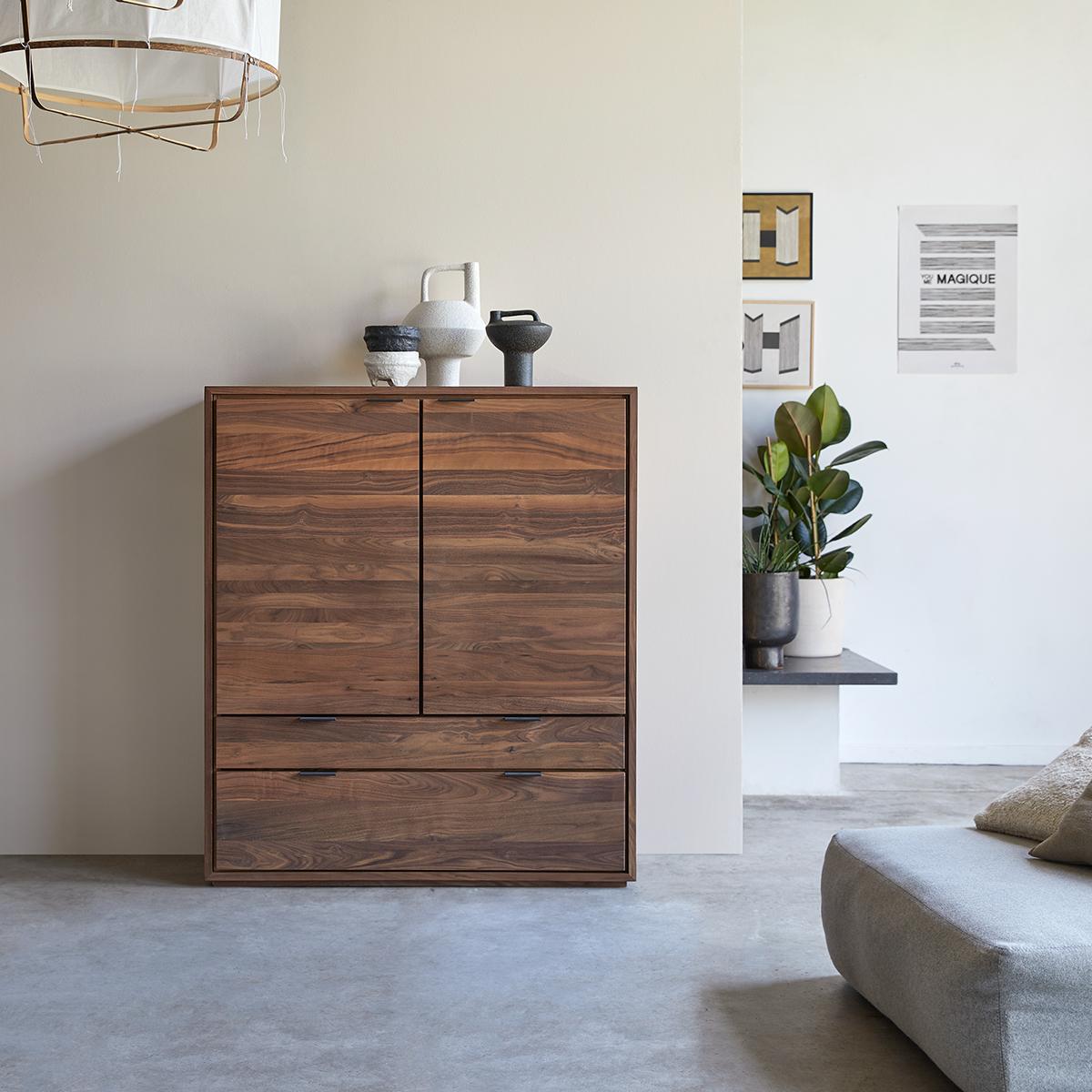 Senson solid walnut storage cabinet