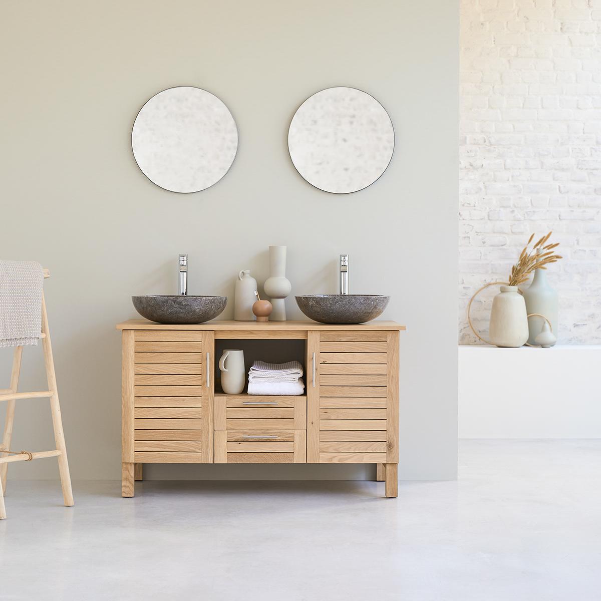 Soho 125 solid oak bathroom unit