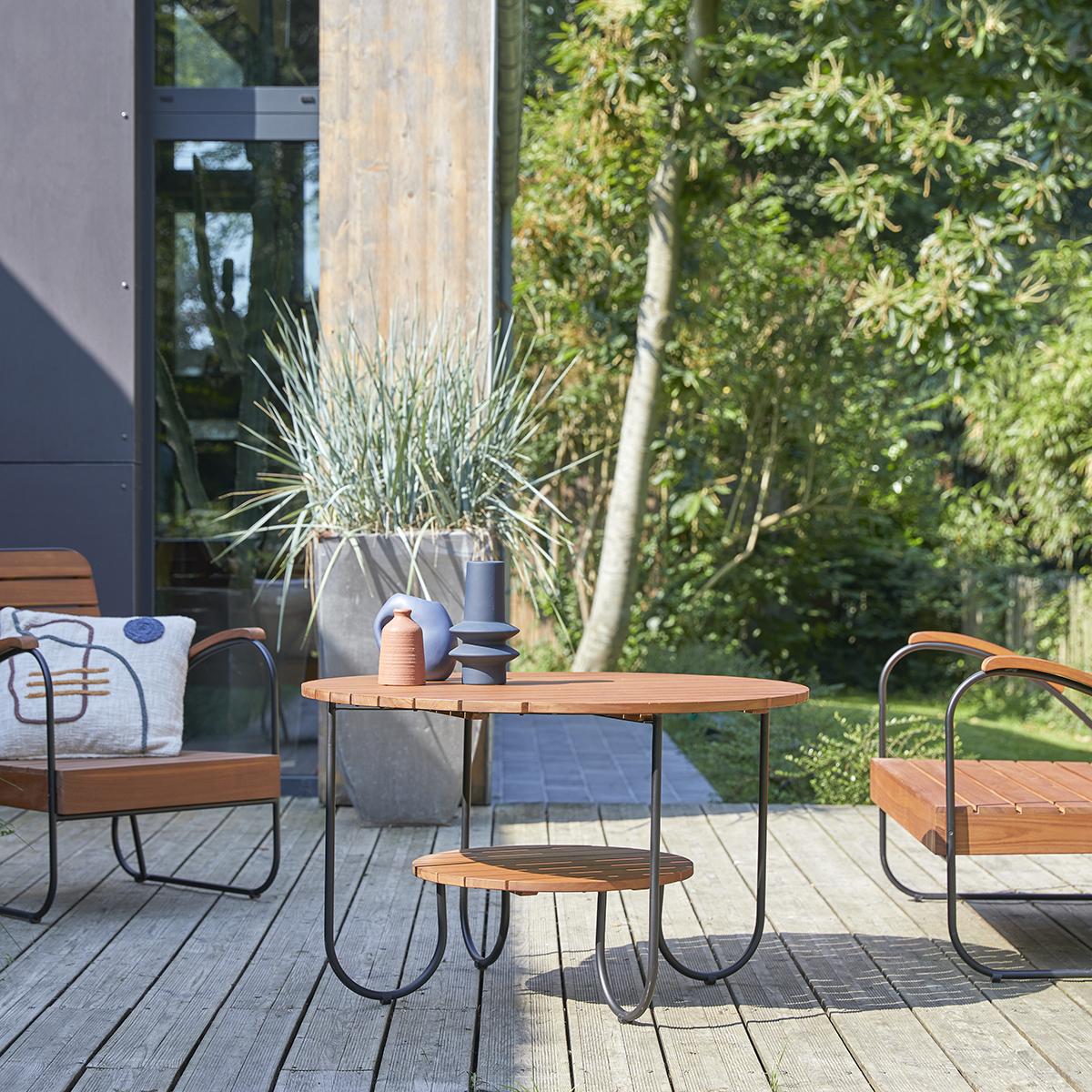 Table basse de jardin lattée en teck massif Key Wood